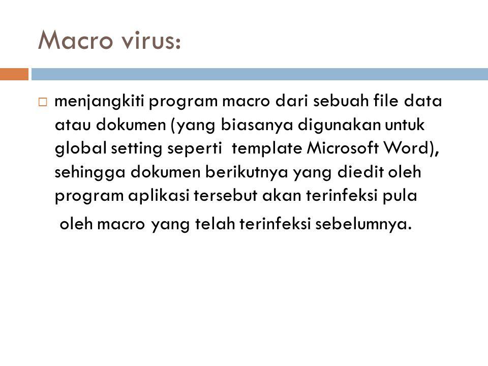 Macro virus:  menjangkiti program macro dari sebuah file data atau dokumen (yang biasanya digunakan untuk global setting seperti template Microsoft W
