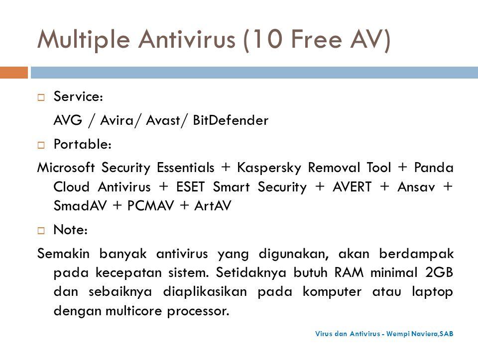 Multiple Antivirus (10 Free AV)  Service: AVG / Avira/ Avast/ BitDefender  Portable: Microsoft Security Essentials + Kaspersky Removal Tool + Panda