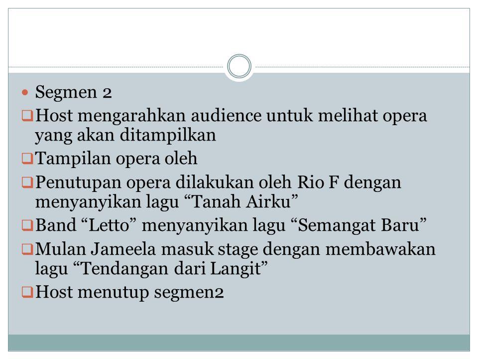 Segmen 2  Host mengarahkan audience untuk melihat opera yang akan ditampilkan  Tampilan opera oleh  Penutupan opera dilakukan oleh Rio F dengan men