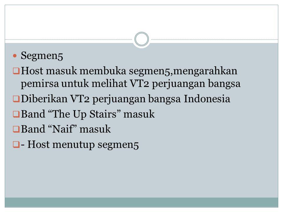 "Segmen5  Host masuk membuka segmen5,mengarahkan pemirsa untuk melihat VT2 perjuangan bangsa  Diberikan VT2 perjuangan bangsa Indonesia  Band ""The U"