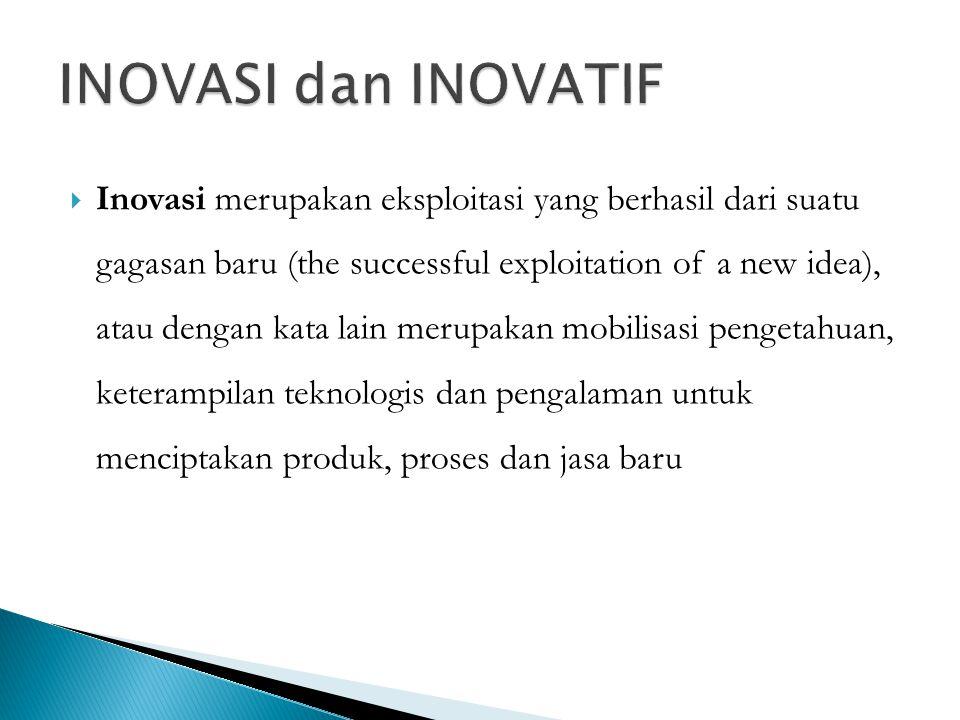  Inovasi merupakan eksploitasi yang berhasil dari suatu gagasan baru (the successful exploitation of a new idea), atau dengan kata lain merupakan mob