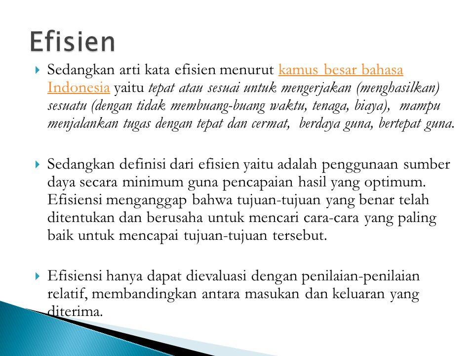  Sedangkan arti kata efisien menurut kamus besar bahasa Indonesia yaitu tepat atau sesuai untuk mengerjakan (menghasilkan) sesuatu (dengan tidak memb