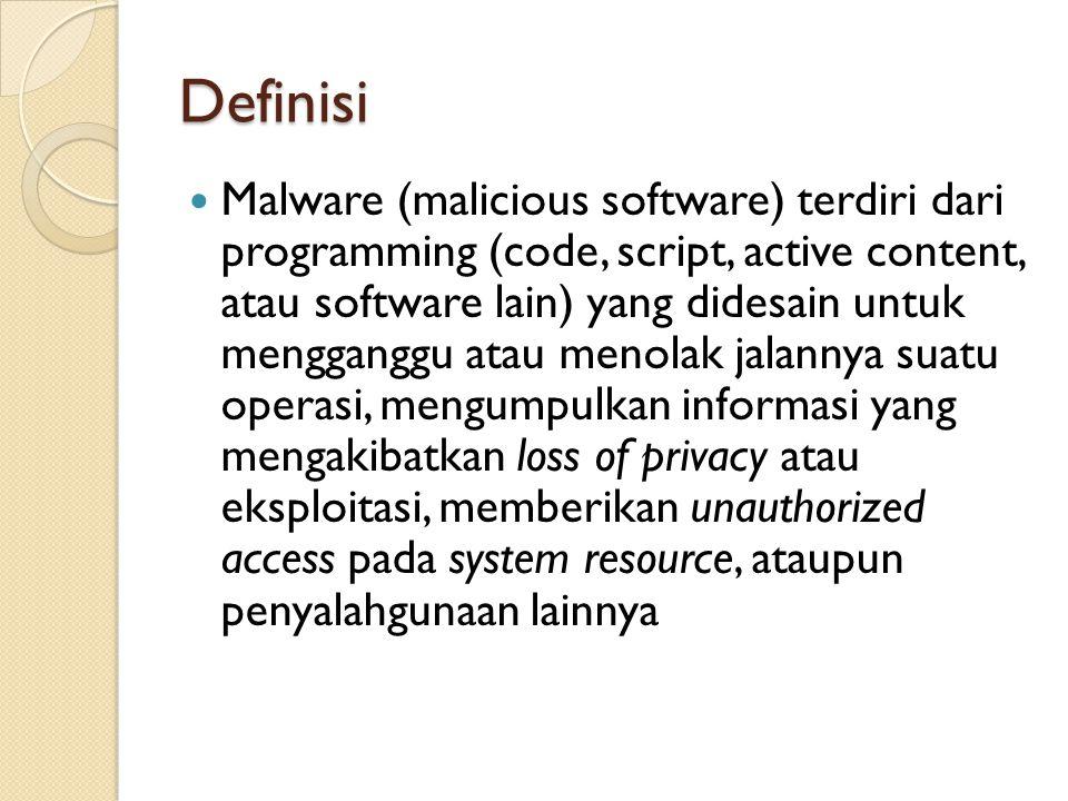 Definisi Malware (malicious software) terdiri dari programming (code, script, active content, atau software lain) yang didesain untuk mengganggu atau menolak jalannya suatu operasi, mengumpulkan informasi yang mengakibatkan loss of privacy atau eksploitasi, memberikan unauthorized access pada system resource, ataupun penyalahgunaan lainnya