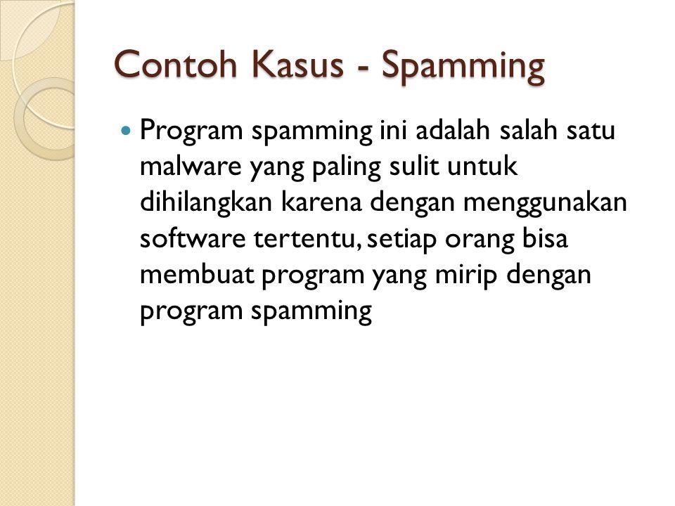 Contoh Kasus - Spamming Program spamming ini adalah salah satu malware yang paling sulit untuk dihilangkan karena dengan menggunakan software tertentu, setiap orang bisa membuat program yang mirip dengan program spamming