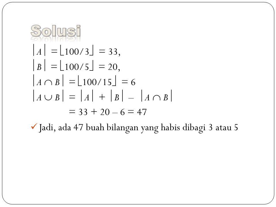  A  =  100/3  = 33,  B  =  100/5  = 20,  A  B  =  100/15  = 6  A  B  =  A  +  B  –  A  B  = 33 + 20 – 6 = 47 Jadi, ada 47 buah