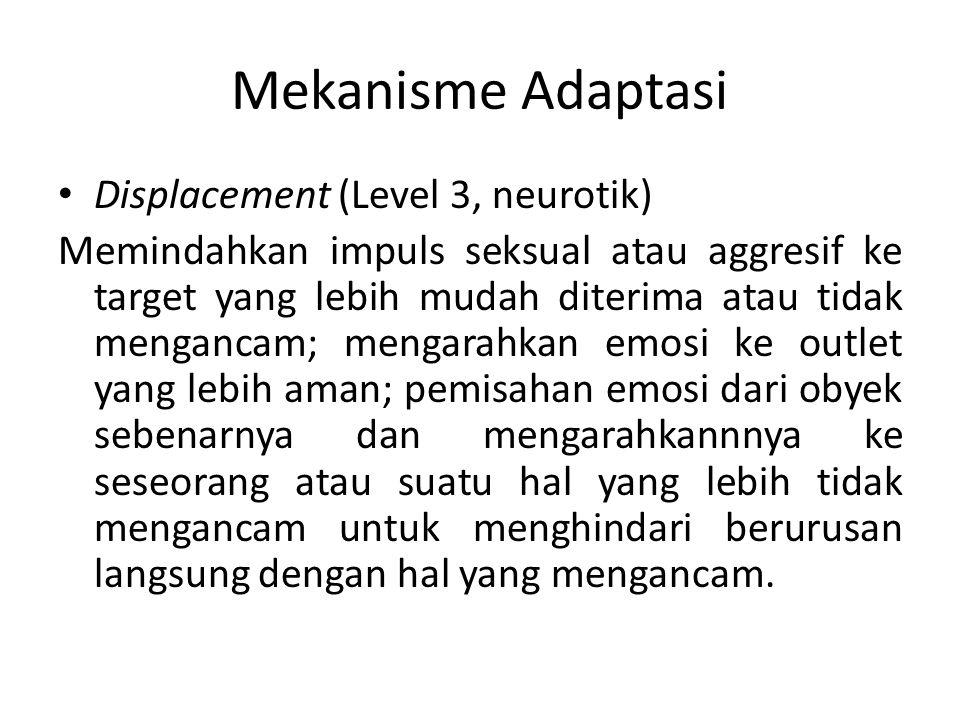 Mekanisme Adaptasi Displacement (Level 3, neurotik) Memindahkan impuls seksual atau aggresif ke target yang lebih mudah diterima atau tidak mengancam;