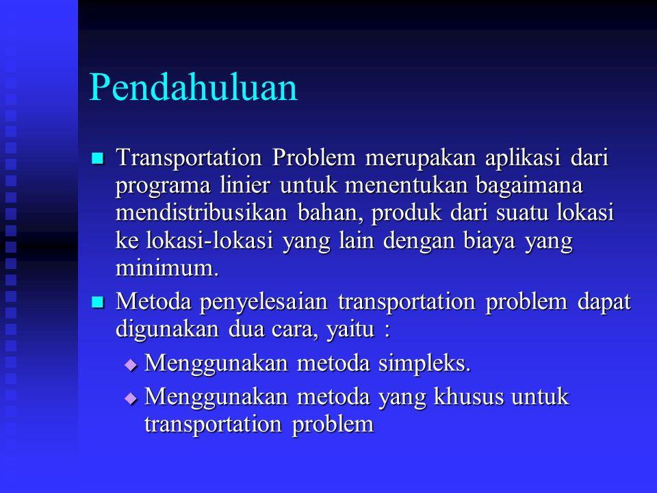 Pendahuluan Transportation Problem merupakan aplikasi dari programa linier untuk menentukan bagaimana mendistribusikan bahan, produk dari suatu lokasi