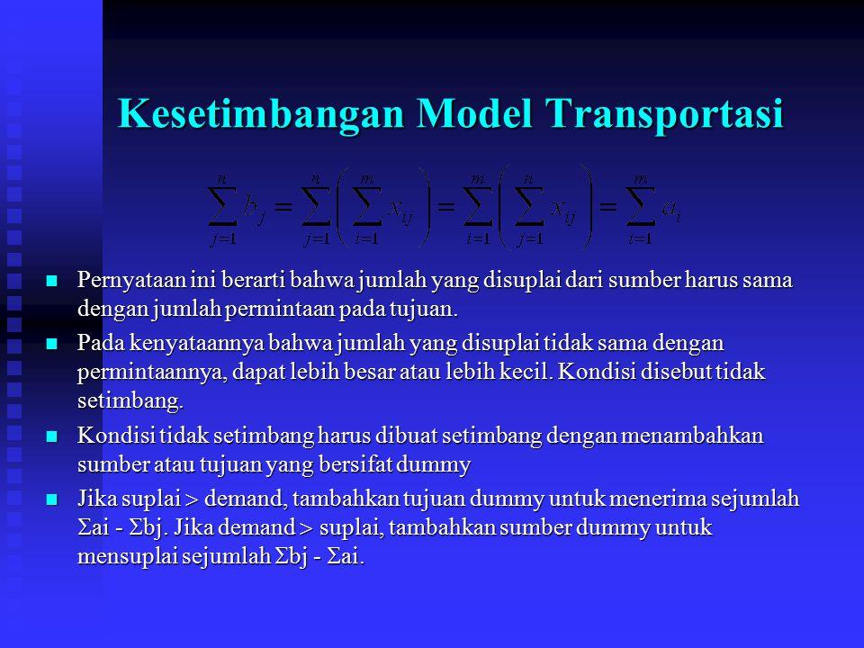 Kesetimbangan Model Transportasi Pernyataan ini berarti bahwa jumlah yang disuplai dari sumber harus sama dengan jumlah permintaan pada tujuan. Pernya