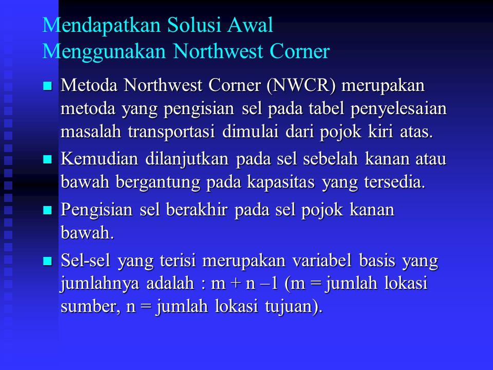 Mendapatkan Solusi Awal Menggunakan Northwest Corner Metoda Northwest Corner (NWCR) merupakan metoda yang pengisian sel pada tabel penyelesaian masala