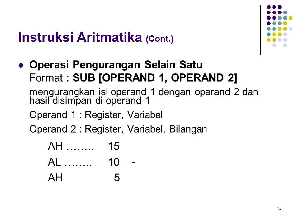 13 Instruksi Aritmatika (Cont.) Operasi Pengurangan Selain Satu Format : SUB [OPERAND 1, OPERAND 2] mengurangkan isi operand 1 dengan operand 2 dan ha