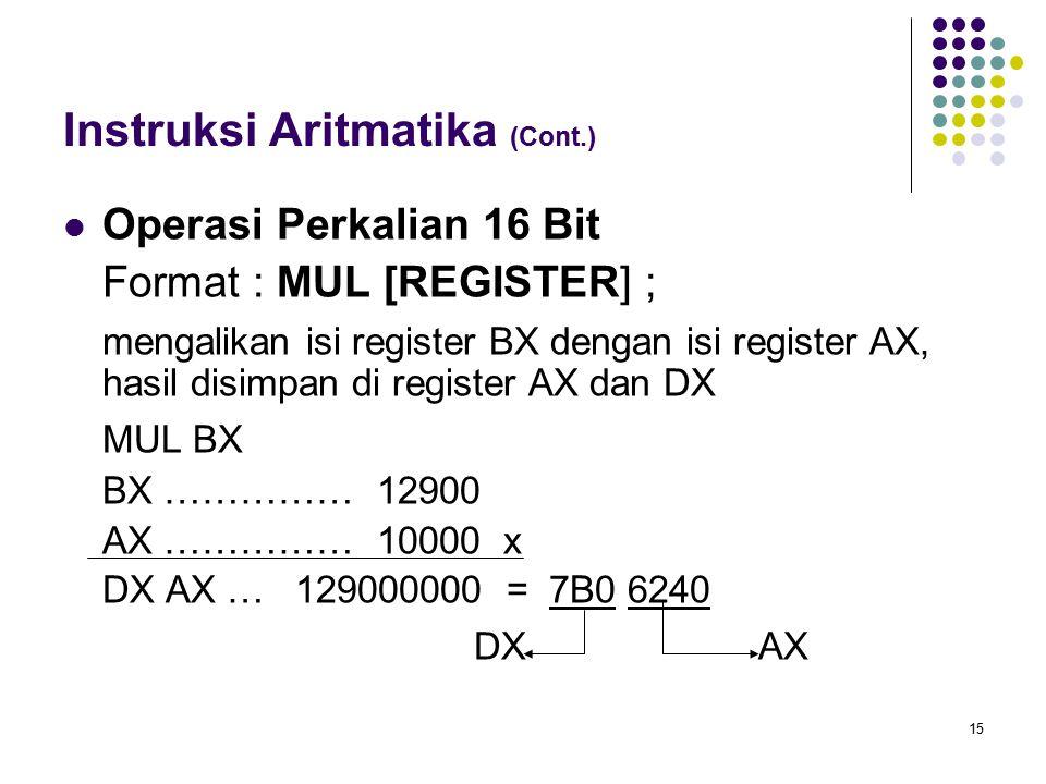 15 Instruksi Aritmatika (Cont.) Operasi Perkalian 16 Bit Format : MUL [REGISTER] ; mengalikan isi register BX dengan isi register AX, hasil disimpan d