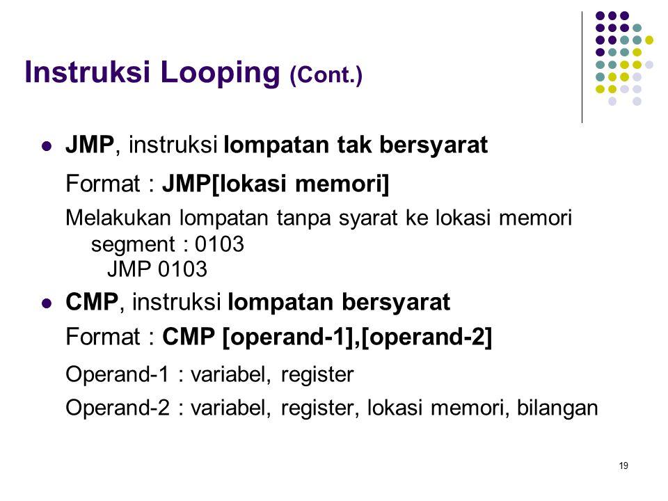 19 Instruksi Looping (Cont.) JMP, instruksi lompatan tak bersyarat Format : JMP[lokasi memori] Melakukan lompatan tanpa syarat ke lokasi memori segmen