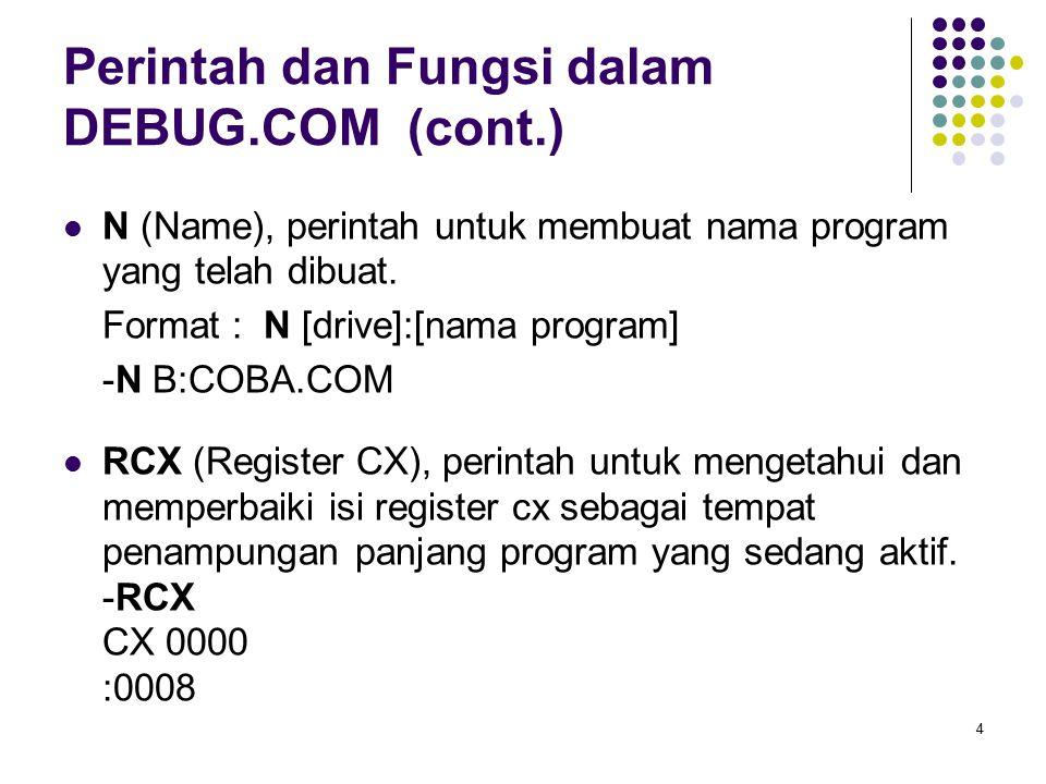 4 Perintah dan Fungsi dalam DEBUG.COM (cont.) N (Name), perintah untuk membuat nama program yang telah dibuat. Format : N [drive]:[nama program] -N B: