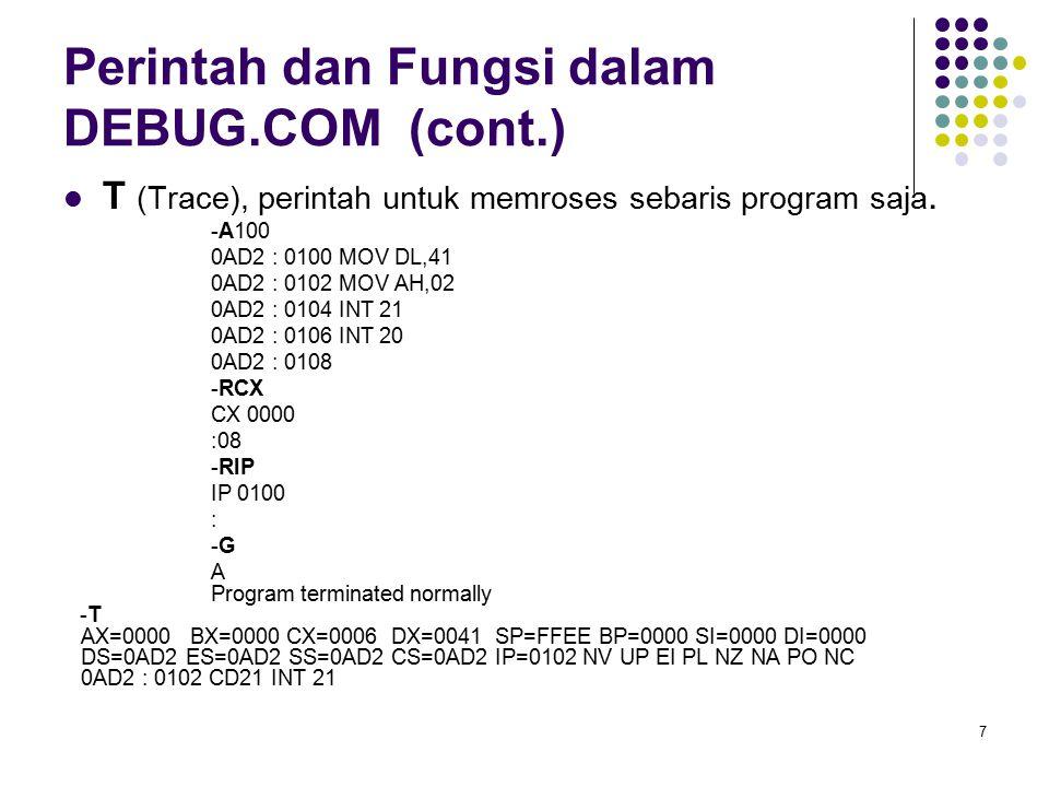 7 Perintah dan Fungsi dalam DEBUG.COM (cont.) T (Trace), perintah untuk memroses sebaris program saja. -A100 0AD2 : 0100 MOV DL,41 0AD2 : 0102 MOV AH,