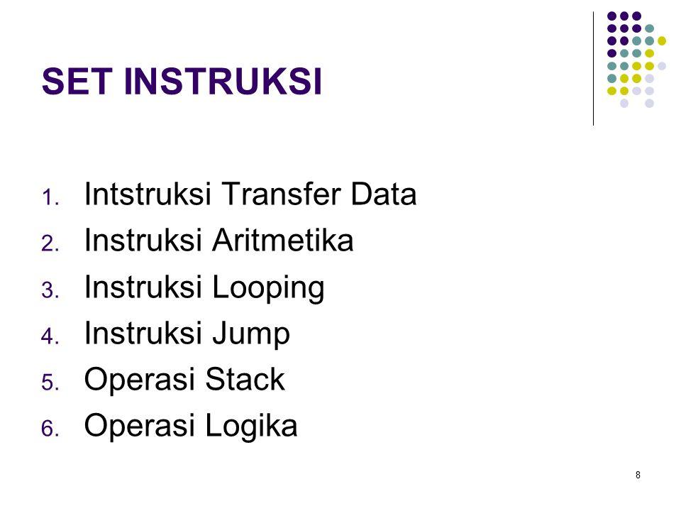 8 SET INSTRUKSI 1. Intstruksi Transfer Data 2. Instruksi Aritmetika 3. Instruksi Looping 4. Instruksi Jump 5. Operasi Stack 6. Operasi Logika