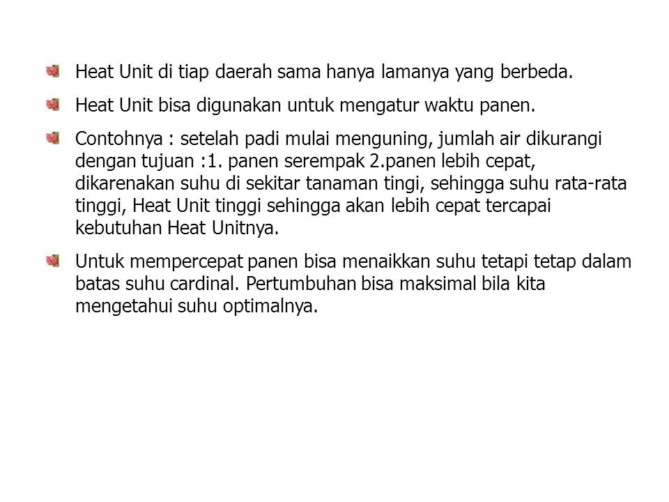 Heat Unit di tiap daerah sama hanya lamanya yang berbeda. Heat Unit bisa digunakan untuk mengatur waktu panen. Contohnya : setelah padi mulai mengunin