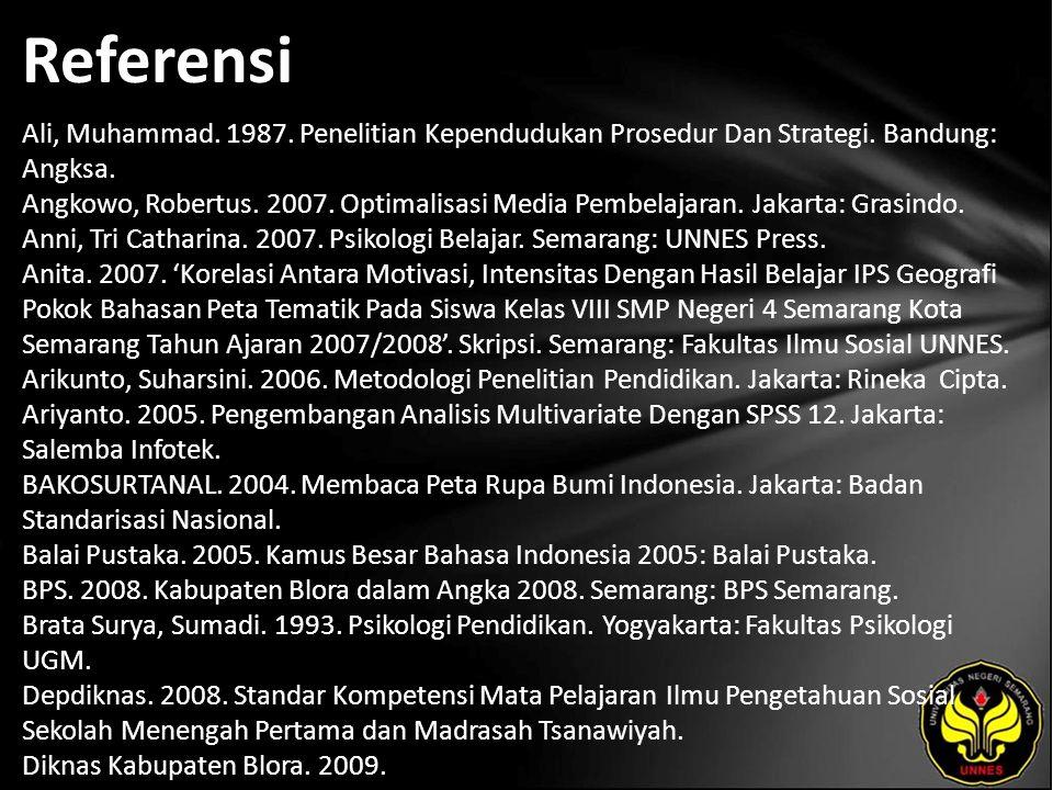 Referensi Ali, Muhammad. 1987. Penelitian Kependudukan Prosedur Dan Strategi. Bandung: Angksa. Angkowo, Robertus. 2007. Optimalisasi Media Pembelajara