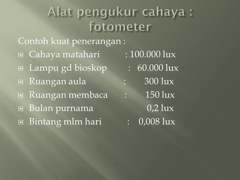  Sebuah lampu 60 W mempunyai efisiensi 14 lm/W diletakkan 2 m diatas meja,  a.