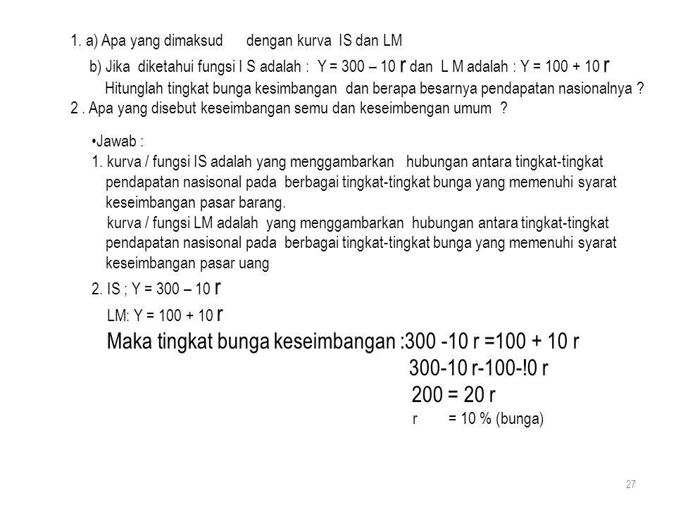 27 1. a) Apa yang dimaksud dengan kurva IS dan LM b) Jika diketahui fungsi I S adalah : Y = 300 – 10 r dan L M adalah : Y = 100 + 10 r Hitunglah tingk