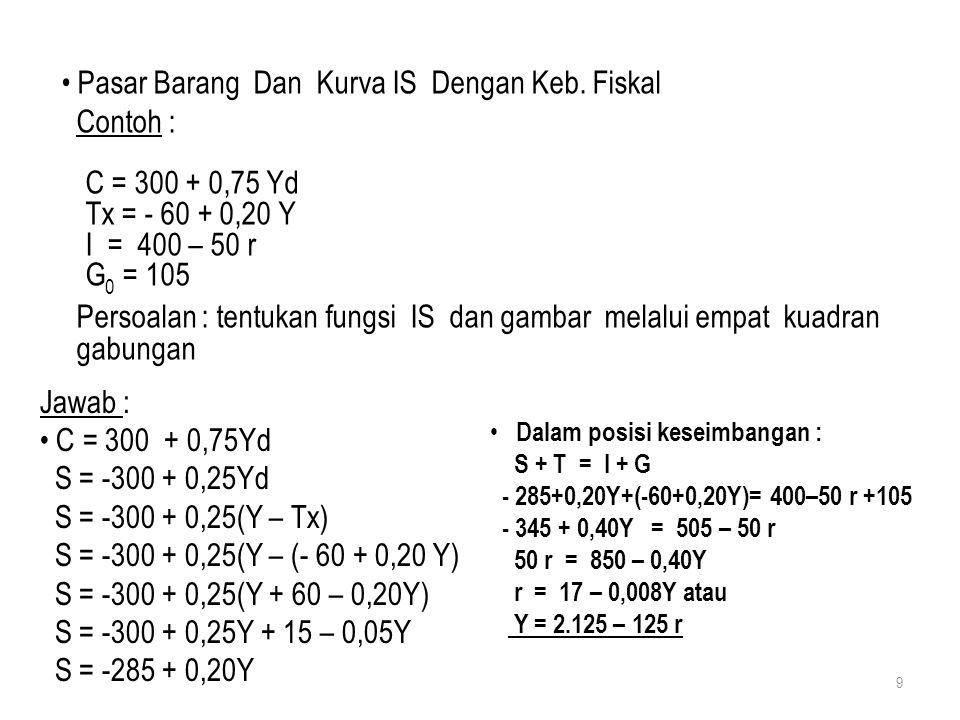 Pasar Barang Dan Kurva IS Dengan Keb. Fiskal Contoh : C = 300 + 0,75 Yd Tx = - 60 + 0,20 Y I = 400 – 50 r G 0 = 105 Persoalan : tentukan fungsi IS dan