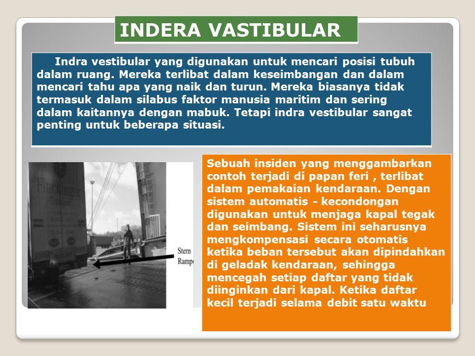 INDERA VASTIBULAR Indra vestibular yang digunakan untuk mencari posisi tubuh dalam ruang.