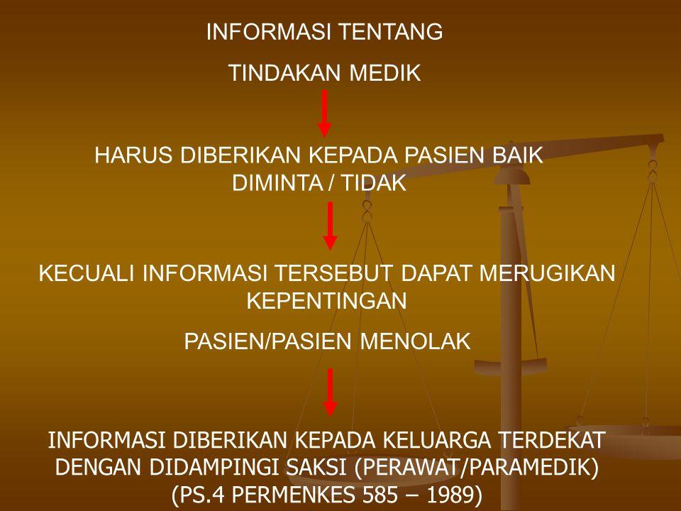 INFORMASI TENTANG TINDAKAN MEDIK HARUS DIBERIKAN KEPADA PASIEN BAIK DIMINTA / TIDAK KECUALI INFORMASI TERSEBUT DAPAT MERUGIKAN KEPENTINGAN PASIEN/PASI