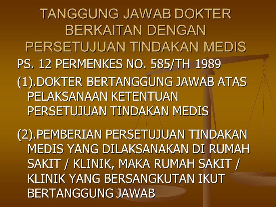 PS. 12 PERMENKES NO. 585/TH 1989 (1).DOKTER BERTANGGUNG JAWAB ATAS PELAKSANAAN KETENTUAN PERSETUJUAN TINDAKAN MEDIS (2).PEMBERIAN PERSETUJUAN TINDAKAN