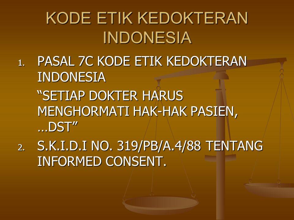 "KODE ETIK KEDOKTERAN INDONESIA 1. PASAL 7C KODE ETIK KEDOKTERAN INDONESIA ""SETIAP DOKTER HARUS MENGHORMATI HAK-HAK PASIEN, …DST"" 2. S.K.I.D.I NO. 319/"