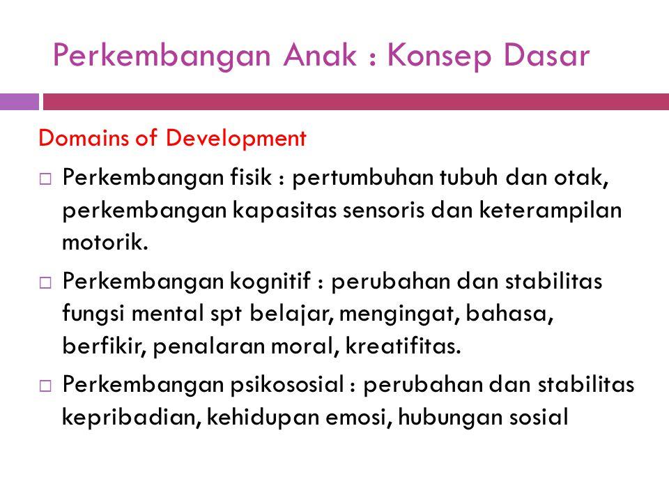 Perkembangan Anak : Konsep Dasar Domains of Development  Perkembangan fisik : pertumbuhan tubuh dan otak, perkembangan kapasitas sensoris dan keteram