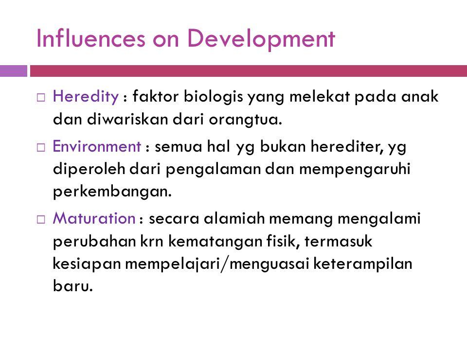 Influences on Development  Heredity : faktor biologis yang melekat pada anak dan diwariskan dari orangtua.  Environment : semua hal yg bukan heredit