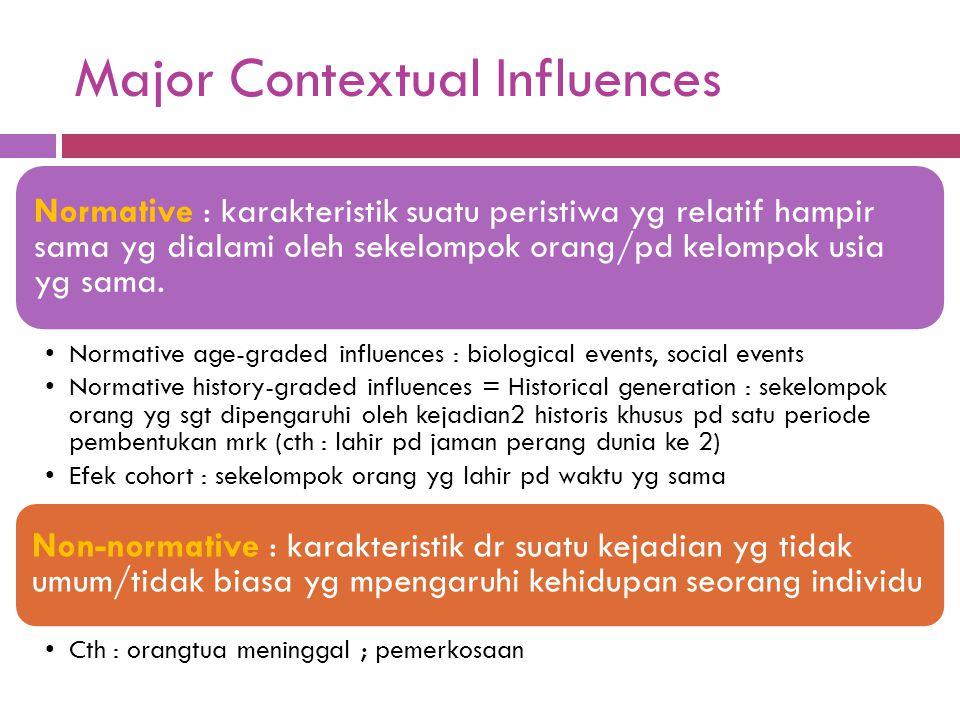 Major Contextual Influences Normative : karakteristik suatu peristiwa yg relatif hampir sama yg dialami oleh sekelompok orang/pd kelompok usia yg sama