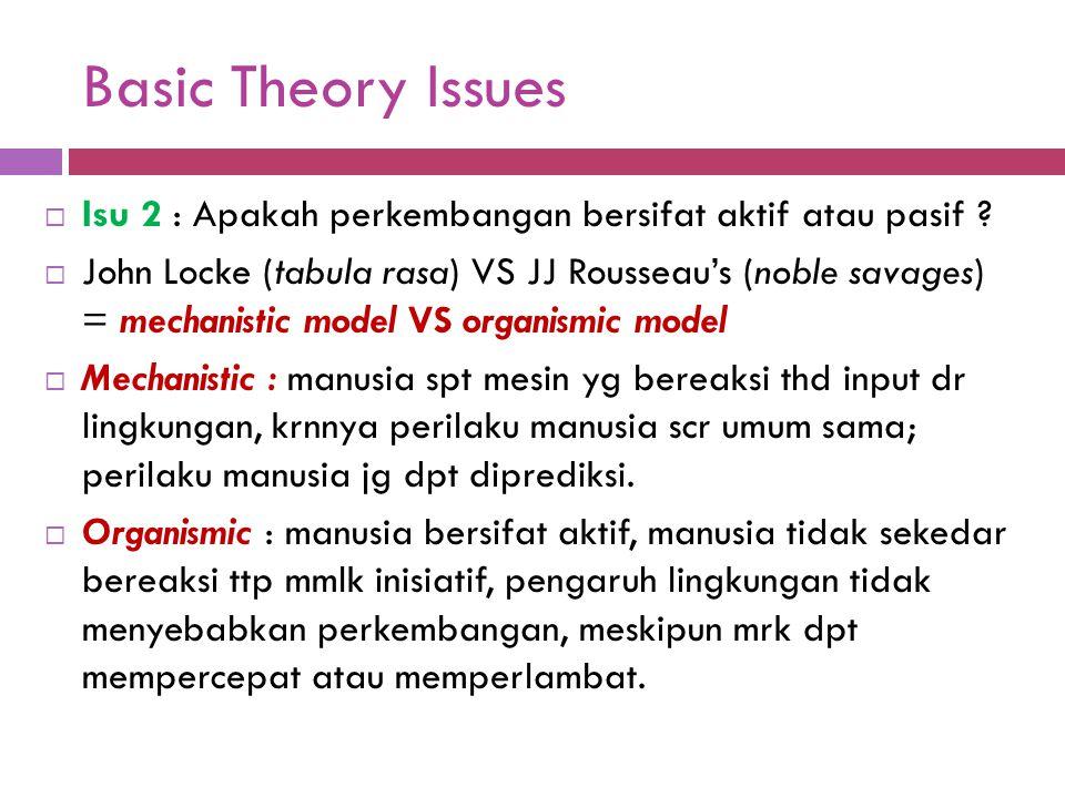 Basic Theory Issues  Isu 2 : Apakah perkembangan bersifat aktif atau pasif ?  John Locke (tabula rasa) VS JJ Rousseau's (noble savages) = mechanisti