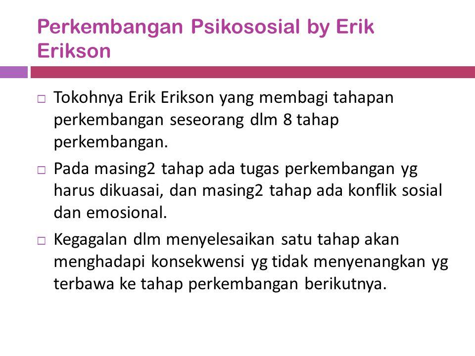 Perkembangan Psikososial by Erik Erikson  Tokohnya Erik Erikson yang membagi tahapan perkembangan seseorang dlm 8 tahap perkembangan.  Pada masing2