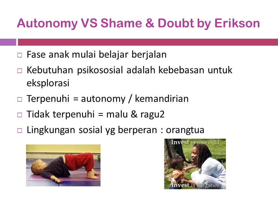 Autonomy VS Shame & Doubt by Erikson  Fase anak mulai belajar berjalan  Kebutuhan psikososial adalah kebebasan untuk eksplorasi  Terpenuhi = autono