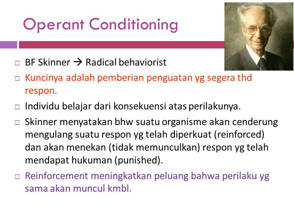 Operant Conditioning  BF Skinner  Radical behaviorist  Kuncinya adalah pemberian penguatan yg segera thd respon.  Individu belajar dari konsekuens