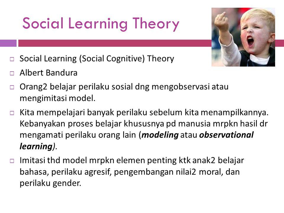 Social Learning Theory  Social Learning (Social Cognitive) Theory  Albert Bandura  Orang2 belajar perilaku sosial dng mengobservasi atau mengimitas