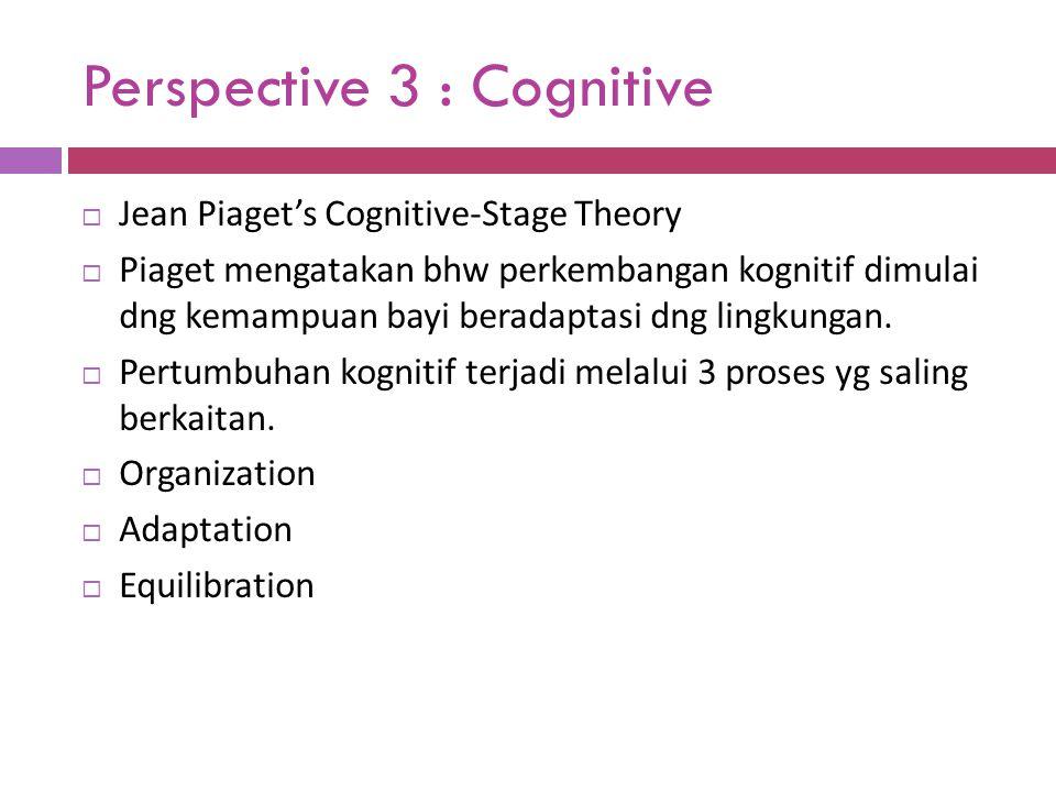 Perspective 3 : Cognitive  Jean Piaget's Cognitive-Stage Theory  Piaget mengatakan bhw perkembangan kognitif dimulai dng kemampuan bayi beradaptasi