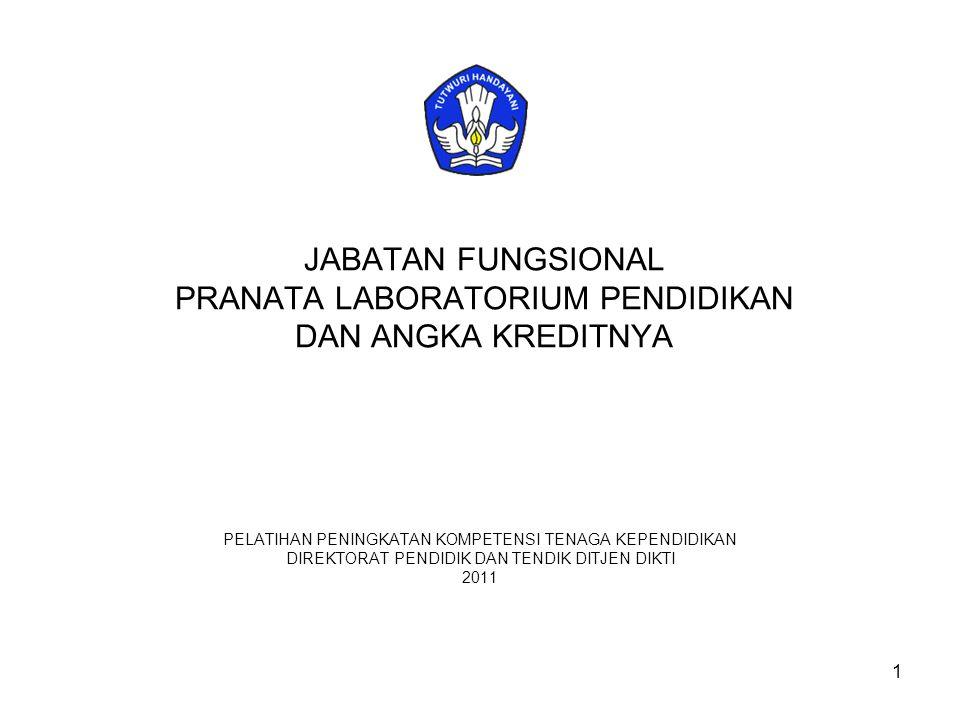 12 ANGKA KREDIT KUMULATIF MINIMAL PENGANGKATAN DAN KENAIKAN JABATAN / PANGKAT JABATAN FUNGSIONAL DENGAN PENDIDIKAN SARJANA (S1)/D IV 12 NONO UNSUR % JENJANG JABATAN/GOLONGAN RUANG DAN ANGKA KREDIT JABATAN FUNGSIONAL PRANATA LABORATORIUM PENDIDIKAN PERTAMAMUDAMADYA III/aIII/bIII/cIII/dIV/aIV/bIV/c I UNSUR UTAMA A.