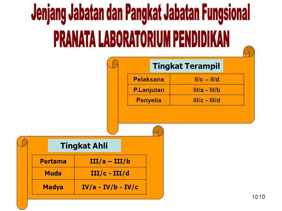 10 PertamaIII/a – III/b MudaIII/c - III/d MadyaIV/a - IV/b - IV/c PelaksanaII/c – II/d P.LanjutanIII/a - III/b PenyeliaIII/c - III/d Tingkat Terampil