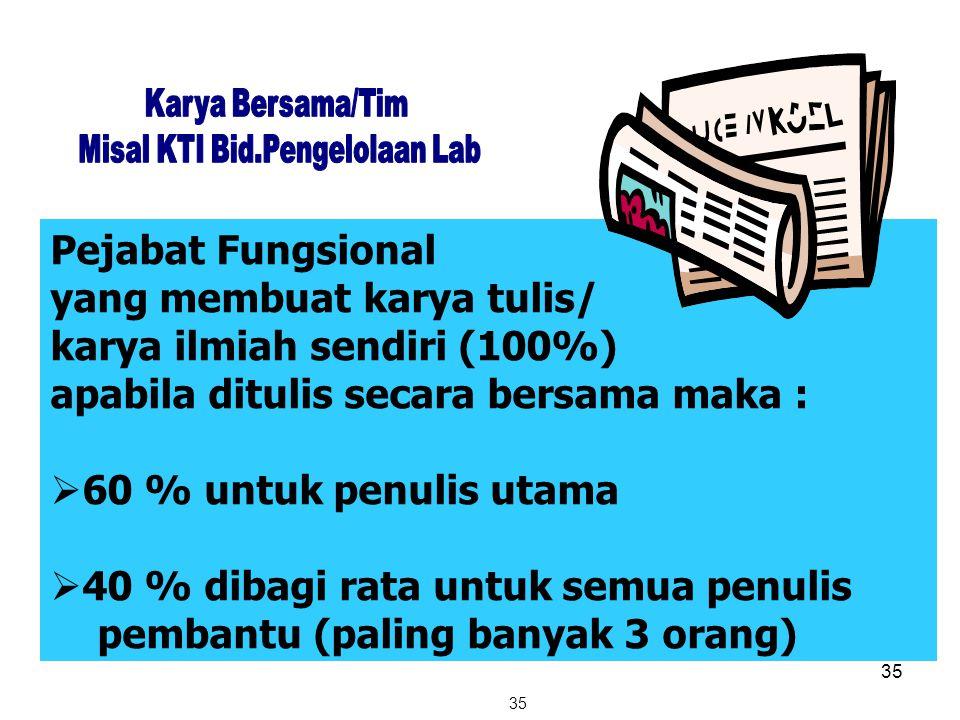 35 Pejabat Fungsional yang membuat karya tulis/ karya ilmiah sendiri (100%) apabila ditulis secara bersama maka :  60 % untuk penulis utama  40 % di