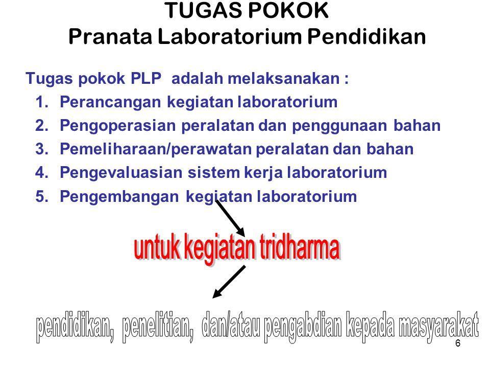 6 TUGAS POKOK Pranata Laboratorium Pendidikan Tugas pokok PLP adalah melaksanakan : 1.Perancangan kegiatan laboratorium 2.Pengoperasian peralatan dan