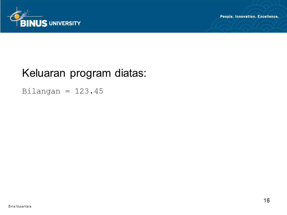 Bina Nusantara Keluaran program diatas: Bilangan = 123.45 16