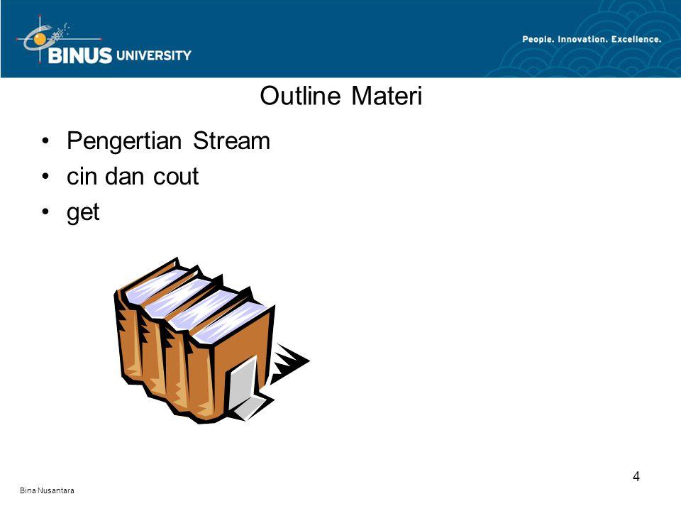 Bina Nusantara Outline Materi Pengertian Stream cin dan cout get 4