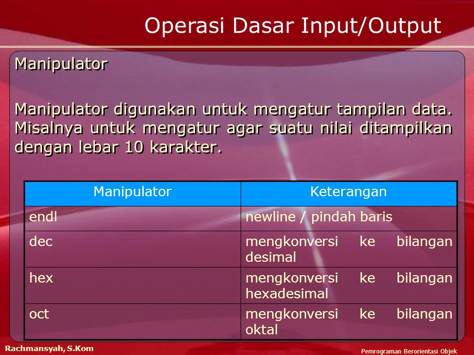 Pemrograman Berorientasi Objek Rachmansyah, S.Kom Operasi Dasar Input/Output contoh ios::fixed : #include void main() { cout<<setiosflags(ios::fixed); cout<<123.45; } contoh ios::fixed : #include void main() { cout<<setiosflags(ios::fixed); cout<<123.45; } 123.450000