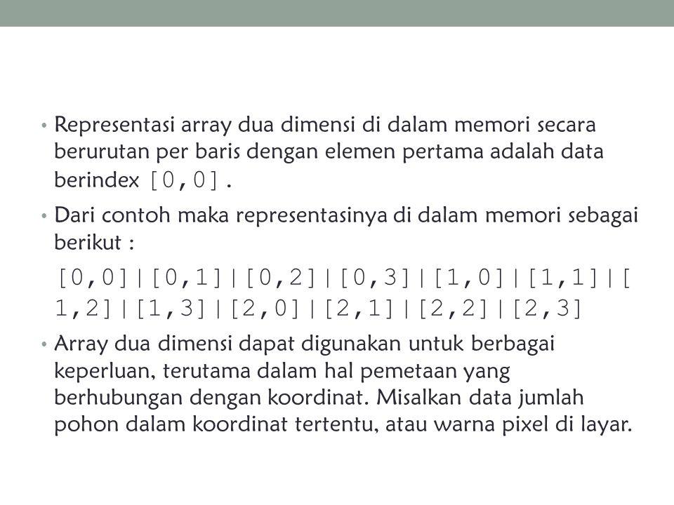 Representasi array dua dimensi di dalam memori secara berurutan per baris dengan elemen pertama adalah data berindex [0,0]. Dari contoh maka represent