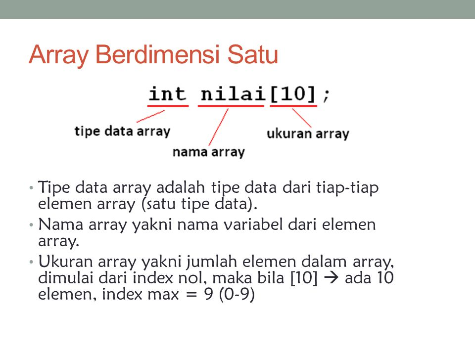 Array Berdimensi Satu Tipe data array adalah tipe data dari tiap-tiap elemen array (satu tipe data). Nama array yakni nama variabel dari elemen array.