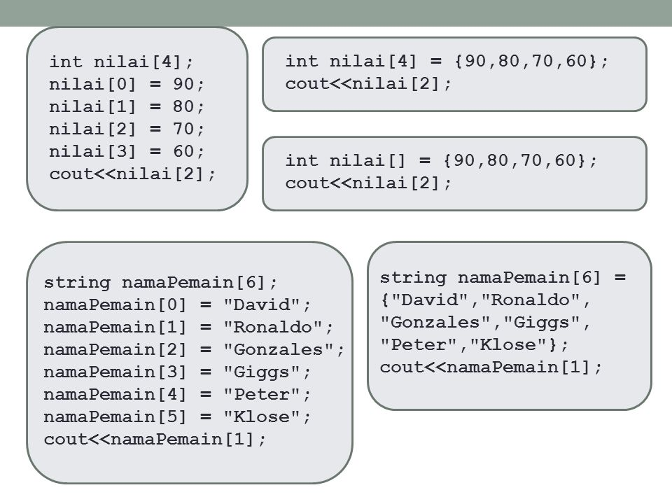 #include using namespace std; void main() { int angka[8] =; int *pArray = angka; pArray = angka; for (int i = 0; i <= 7; i++) { pArray = pArray + i; cout<<pArray<<endl; } _getch(); } Ilustrasi Array 1 Dimensi int 0 1 2 3 4 5 6 7 0015FD7C 0015FD80 0015FD88 0015FD94 0015FDA4 0015FB8 0015FDD0 0015FDEC indeks value alamat