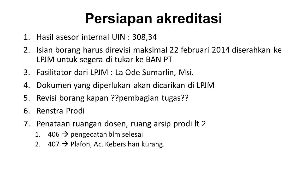 Persiapan akreditasi 1.Hasil asesor internal UIN : 308,34 2.Isian borang harus direvisi maksimal 22 februari 2014 diserahkan ke LPJM untuk segera di tukar ke BAN PT 3.Fasilitator dari LPJM : La Ode Sumarlin, Msi.