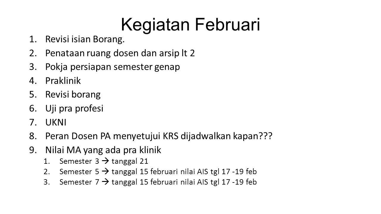 Kegiatan Februari 1.Revisi isian Borang.