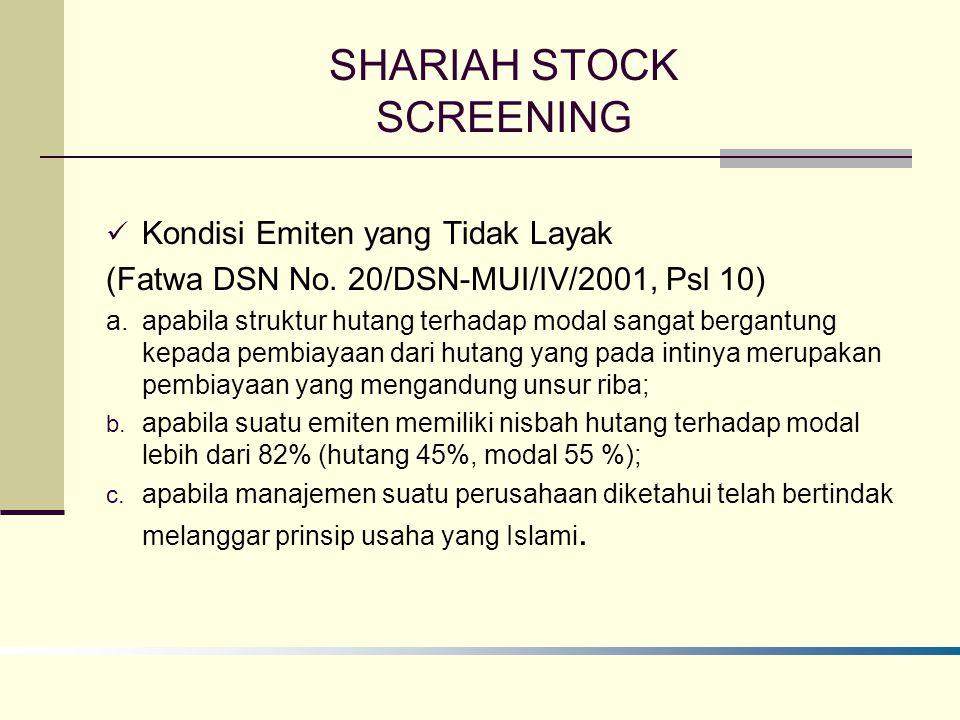 SHARIAH STOCK SCREENING Kondisi Emiten yang Tidak Layak (Fatwa DSN No.